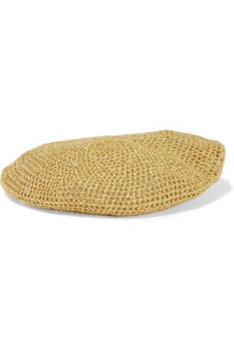 knit metallic beret crochet gold hat