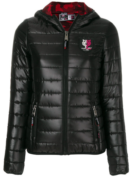 Plein Sport jacket hooded jacket women quilted black