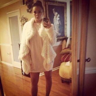 coat jacket white white fur dress fashion spring look short dress bodycon dress fur coat celebrity style