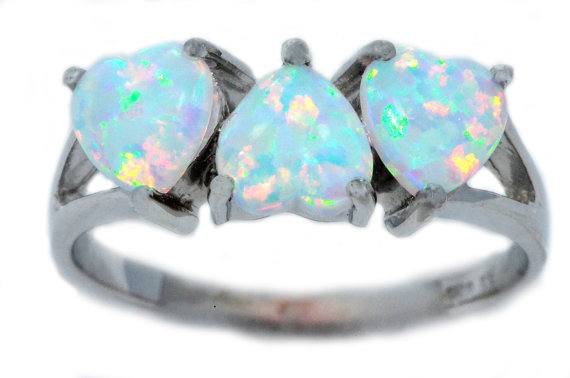 3 Opal Heart Ring White Gold Quality by ElizabethJewelryInc