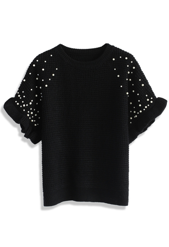 top pearls embellished waffle knit top in black chicwish black pearly embellished top