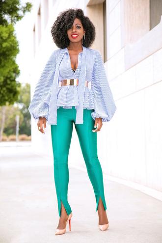 blogger top pants belt shoes pumps high heel pumps green pants fall outfits