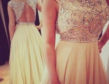 Sexy chiffon beading prom dress, ba..