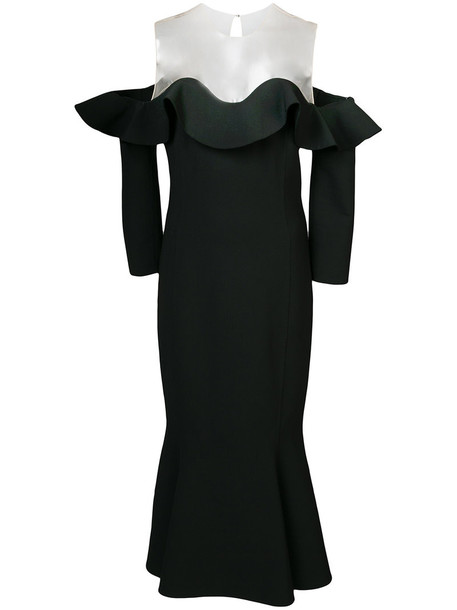 oscar de la renta gown ruffle women spandex black wool dress