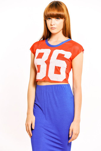 Damica Airtex Number Crop in Red - Pop Couture