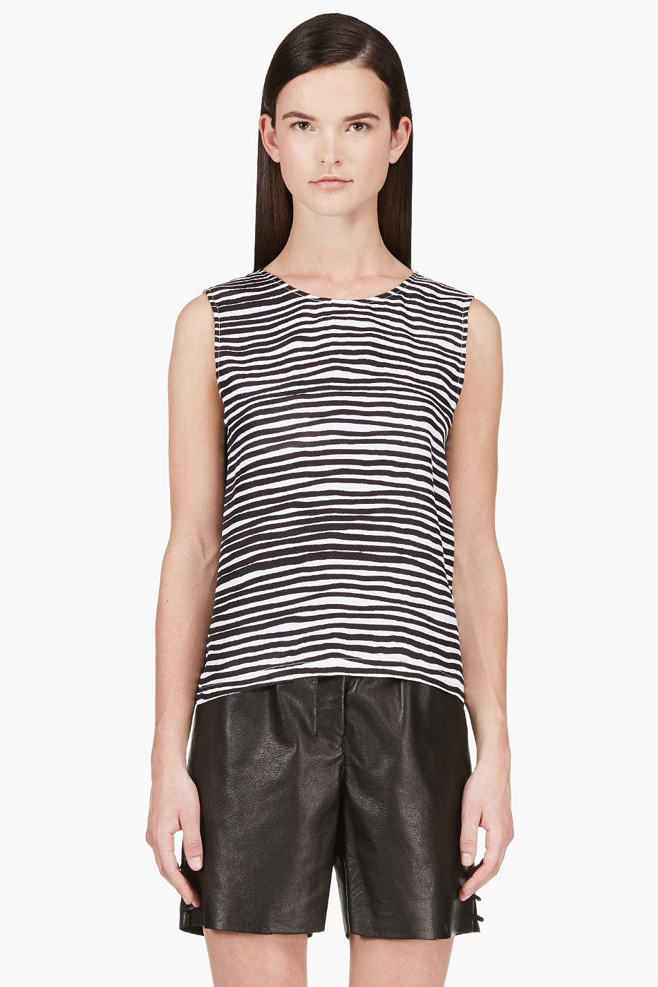 kenzo black and grey seersucker silk tank top