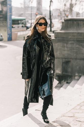 coat black coat vinyl coat long coat oversized coat oversized boots black boots sunglasses