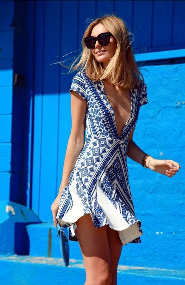 dress blue dress white dress paisley summer dress summer outfits v neck dress