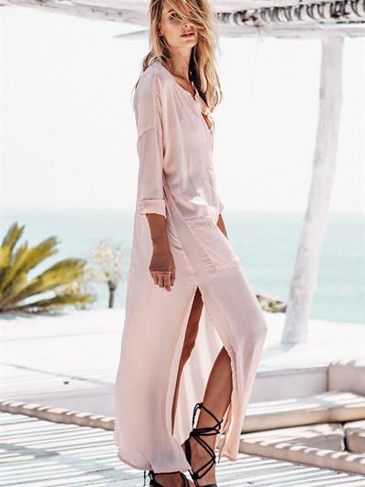 Pink Split Side Semi-sheer Maxi Kimono