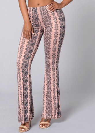 pants flare pants spandex gypsy vintage soul print