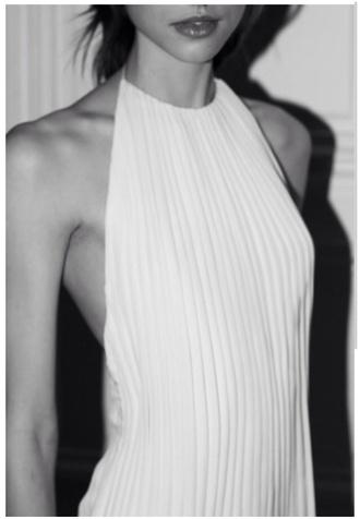 dress white white dress vintage high neck halter neck party dress classy chic marilyn monroe