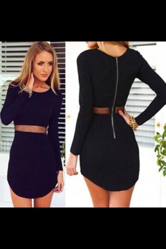 dress black cut-out zip