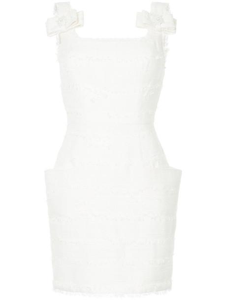 Isabel Sanchis dress embroidered women white cotton silk