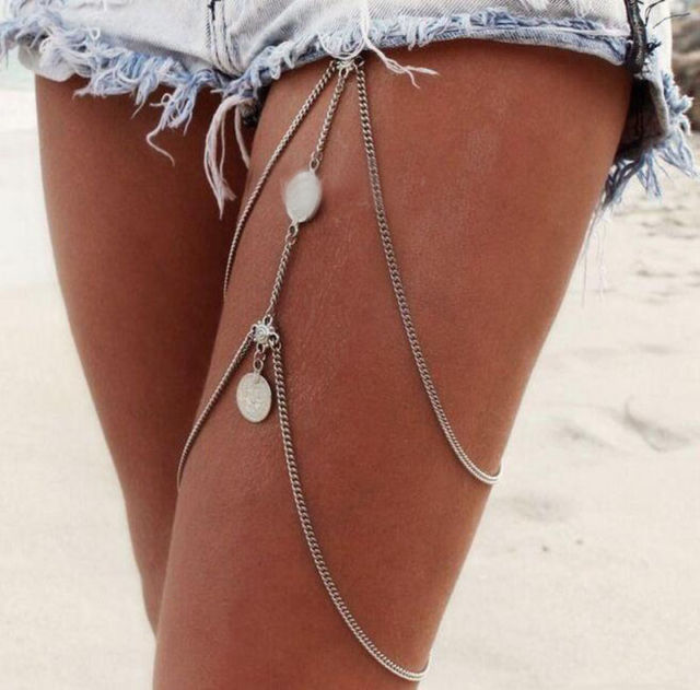 Women Silver/Gold Thigh Coins Leg Chain Body Bikini Beach Harness Jewelry | eBay