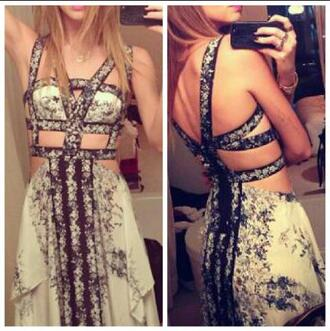 dress maxi dress tumblr pinterest instagram found on instagram cut-out dress cut-out floral black ivory