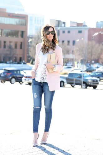 for all things lovely blogger jacket top jeans shoes sunglasses bag jewels make-up