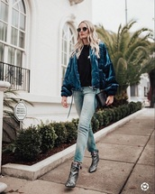jacket,blue jacket,top,black top,boots,silver boots,bomber jacket,jeans,blue jeans,ankle boots,metallic