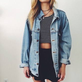 jacket denim stripes nautical two-piece oversized