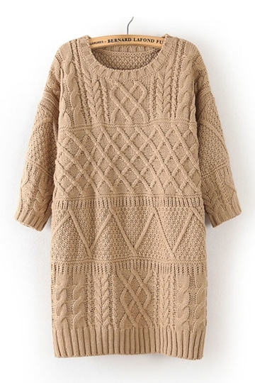 Vintage Three-quarter Sleeve Knitting Dress [FXBI00371] - PersunMall.com