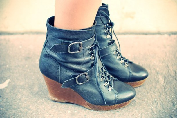 boots wedges buckles black shoes shoes