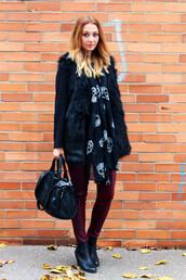 coat,romwe,gilet,fur,black