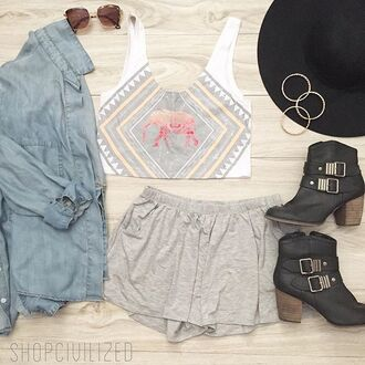 shorts grey grey shorts crop tops crop tank tank top elephant chambray shirt chambray denim jacket