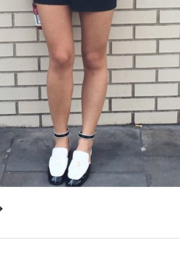 f273500cb37 Chanel Multicolor Spring 2015 Black And White Ankle-strap Loafers ...