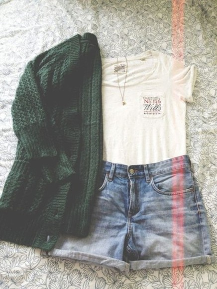 jacket shorts gilet white cute green outfit top denim
