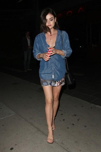 skirt shirt denim shirt lucy hale sandals