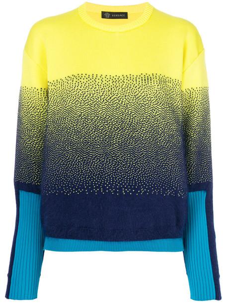 VERSACE jumper women wool yellow orange sweater