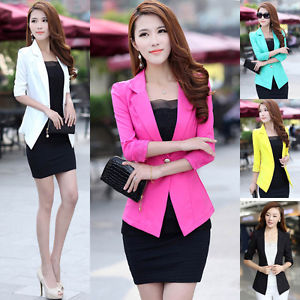 Womens 3 4 sleeves one button ol candy colors suit coat jacket outwear blazer
