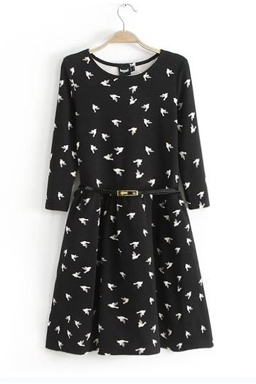 Flying Birds Print Slim Fit Dress [SHWM00027]- US$ 19.99 - PersunMall.com