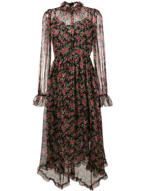 Dolce & Gabbana dress maxi dress maxi rose women spandex cotton print black silk
