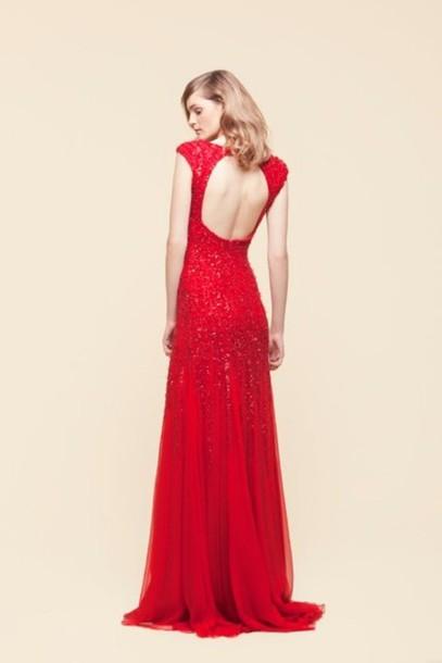 dress red red dress open back high neck glitter dress ball gown dress prom dress maxi dress long dress