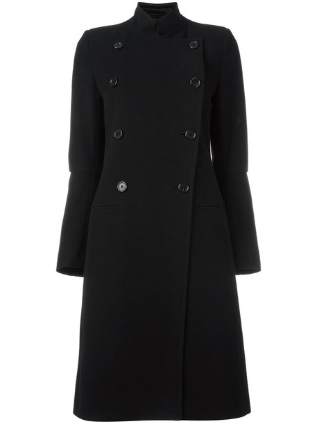 coat double breasted women cotton black wool
