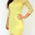 Pastel Yellow Floral Slash Neck Lace Bodycon Dress - £29.99 : Bodycon Boutique - Bodycon Dresses | Bodycon Dress | Bandage Dresses | Mini Dresses