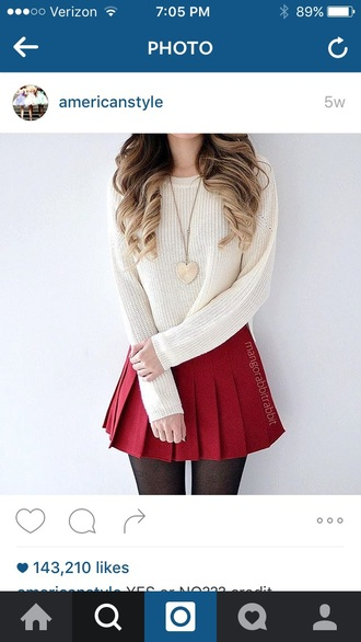 skirt red white cropped tights top outfit pleated white top cropped sweater white sweater sweater black tights knitwear knitted sweater knitted top knitted cardigan skater skirt mini skirt outfit idea red skirt tennis skirt pleated skirt hair blonde hair ombre hair spiral curls curly hair