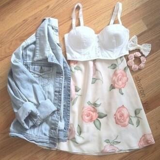skirt floral tumblr vintage pastel top jacket light skater high waisted