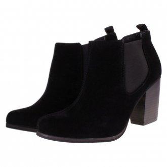 Truffle faux suede block heel low chelsea ankle boots black