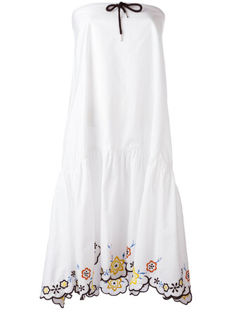 dress women floral white cotton