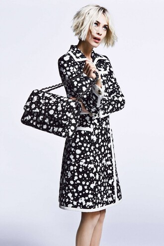 coat alexa chung black and white purse optical editorial