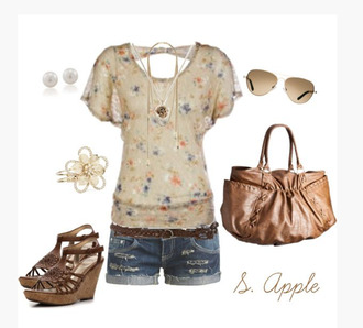 shirt top summer top open back scoop neck flowy sleeves pattern floral pattern heels wedges wedge heels ankle strap bag purse caramel bag shorts long sleeve shirt clothes outfit