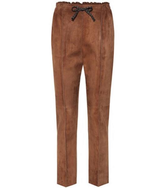 Fendi Suede pants in brown
