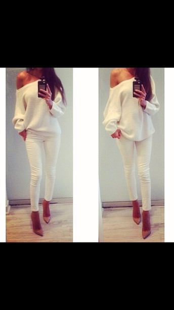 sweater blouse wooly cardigan jeans jumpsuit