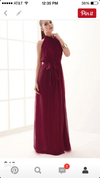 dress wine high neck dress