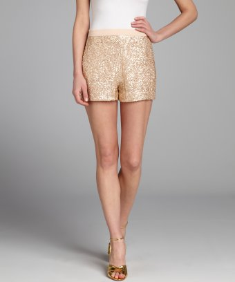 French Connection blush chiffon sequined high-waist shorts | BLUEFLY up to 70% off designer brands