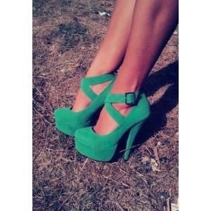 Women's Green Stiletto Heels Buckle Platform Strappy Shoes