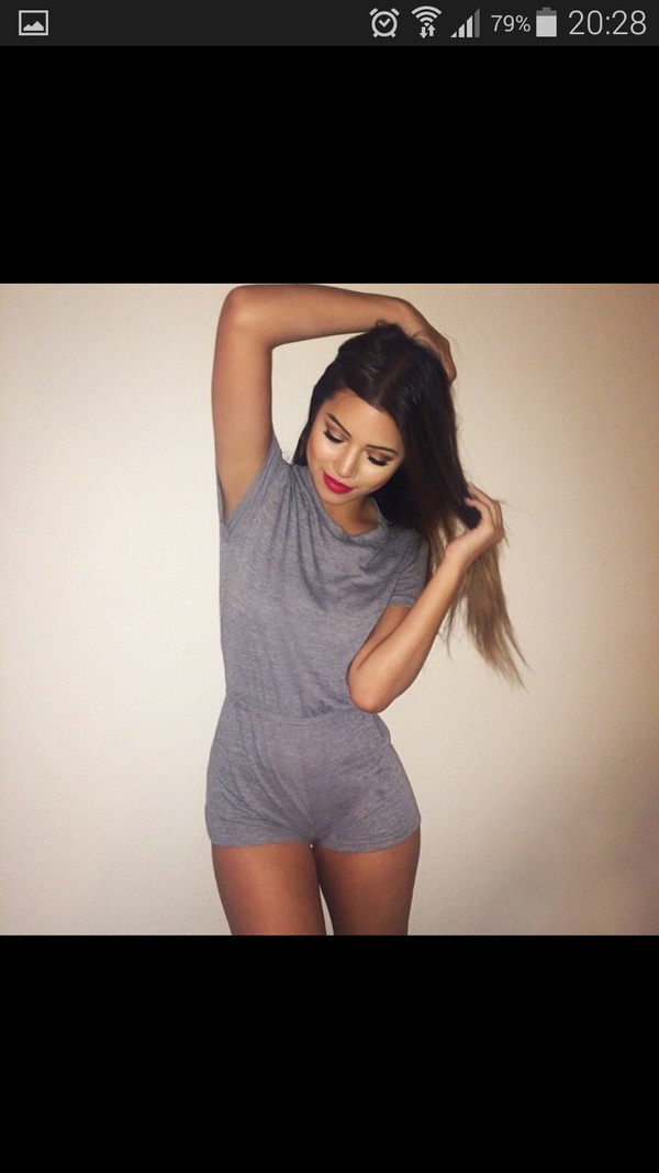 jumpsuit grey romper tumblr girl top