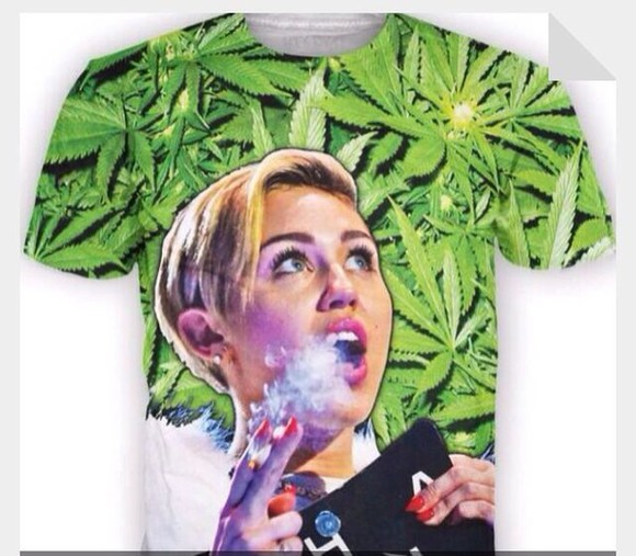shirt miley cyrus weed smoke