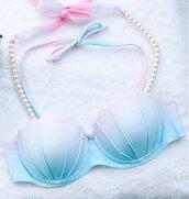 swimwear,wealfeel,mermaid,shell,girly,trendy,summer,tumblr,style,bikini,bikini top,beautiful